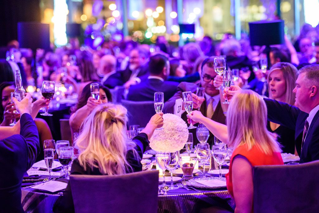 chicago gala photography of attendees toasting