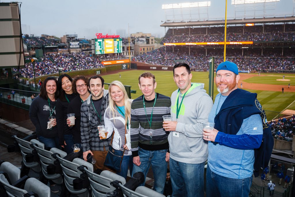 corporate outing photography of cubs game