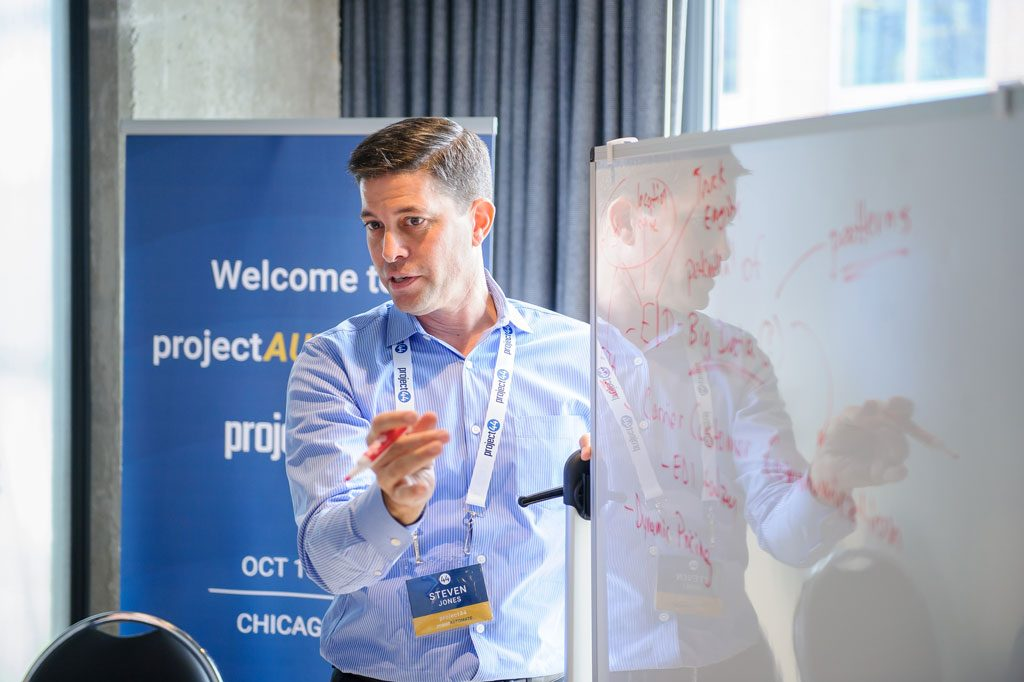 image of man presenting at chicago project 44 event