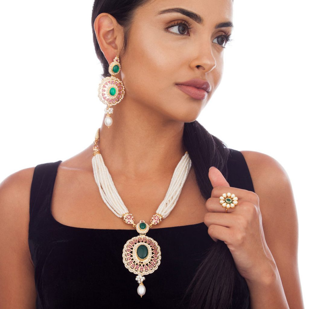 model displaying jewelry