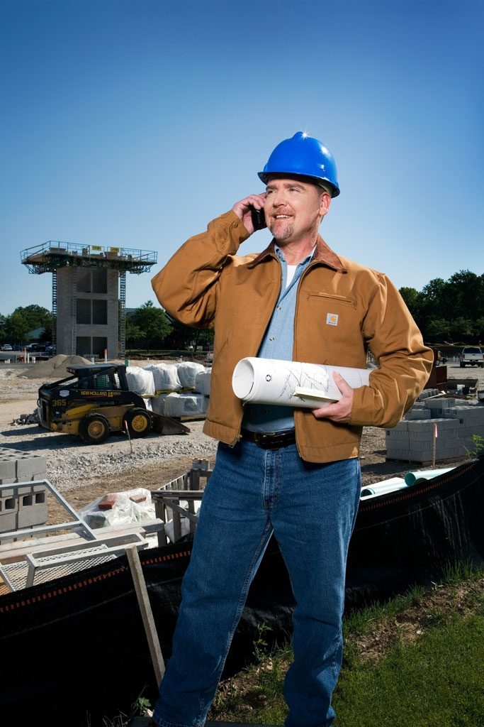 outdoor advertising image of construction worker
