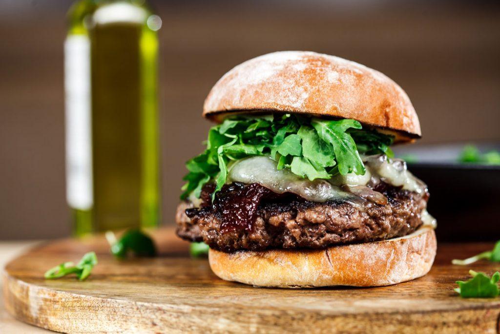 photo of burger in restaurant