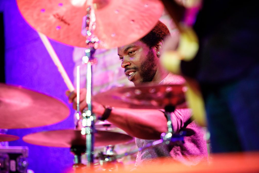 photo of man playing drums at chicago festival
