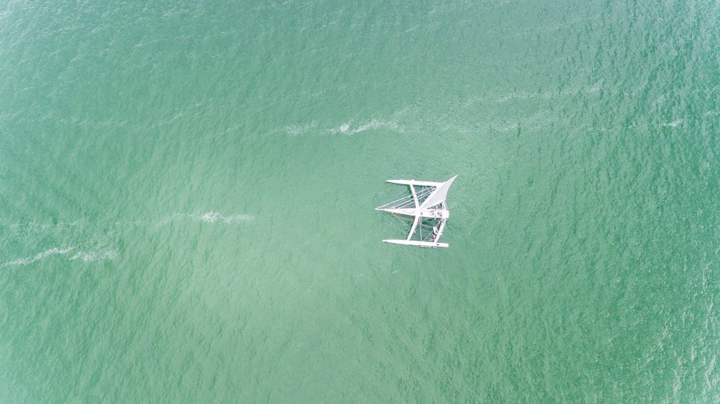 professional drone photography of sailboat