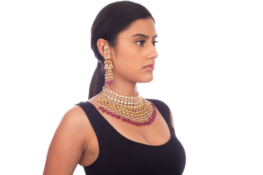 professional jewelry photography chicago woman wearing necklace and earrings