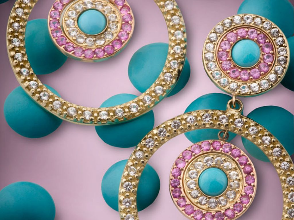 professional jewelry photography of green beads earrings