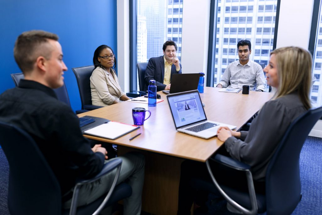 professional office photography chicago people meeting in conference room