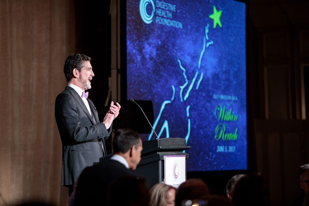 professional photography of man speaking at chicago gala